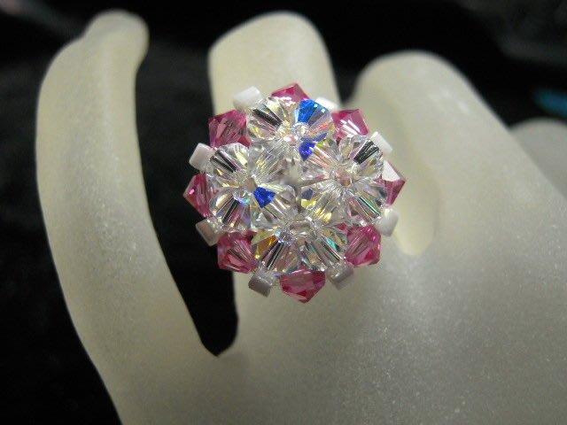 ※水晶玫瑰※ SWAROVSKI 水晶戒指~(HAND50)