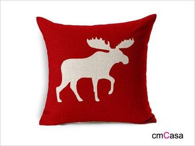 = cmCasa = [3952]美式節日溫馨設計 聖誕紅馴鹿抱枕套 比馴鹿穩重新發行