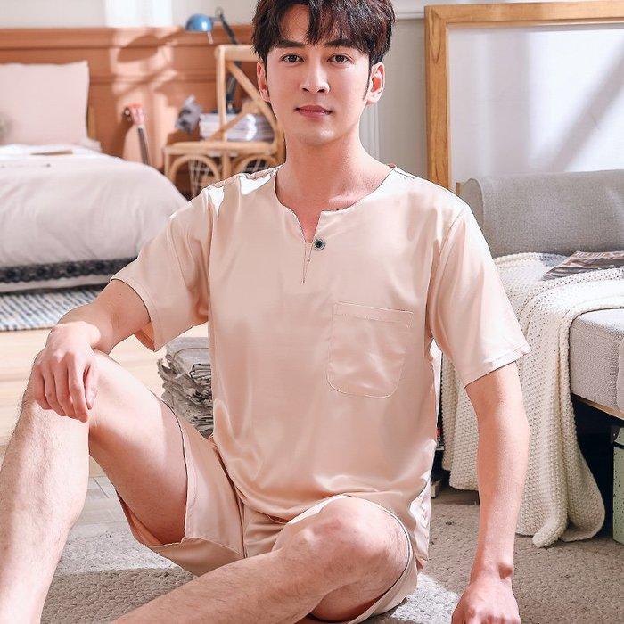 爆款--夏季韓版純色大碼寬松短袖短褲睡衣男士絲綢薄款絲質家居服兩件套#睡衣#休閒#套裝#清新