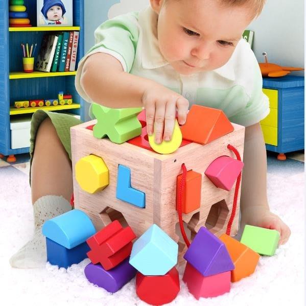 兒童形狀配對積木玩具女孩1-2-3周歲一歲半寶寶男孩蒙氏早教益智