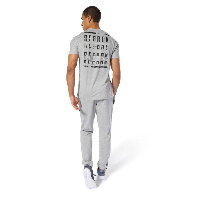 Reebok 全新 灰色 後背標誌印刷 機能 快乾 排汗 運動 休閒 健身 訓練 上衣 短袖上衣 T恤 DU3973