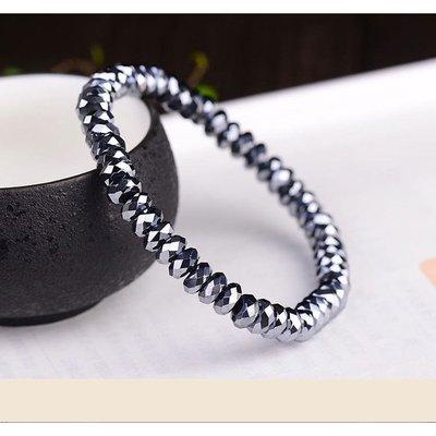 天然鈦赫茲太赫茲鑽石切刻面盤珠日本礦石能量石保健美容 6*3mm(單圈)手珠手鍊DIY 串珠