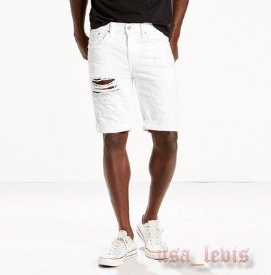 【破壞29-44腰優惠】美國LEVI S 511 SLIM CUT-OFF SHORTS THREADS 白窄管牛仔短褲