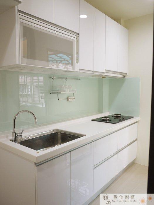 【雅格廚櫃】工廠直營~一字型廚櫃、流理台、結晶鋼烤、櫻花三機、G型鋁把手