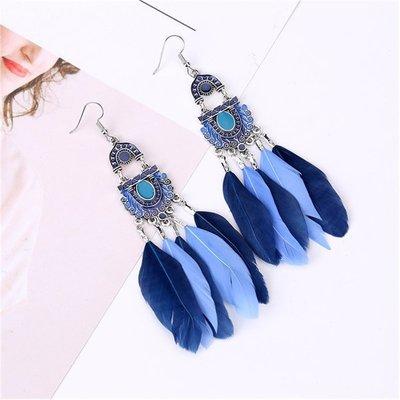 歐美複古印第安風雙色羽毛耳環時尚氣質長款流蘇耳墜波西米亞耳飾 兩對