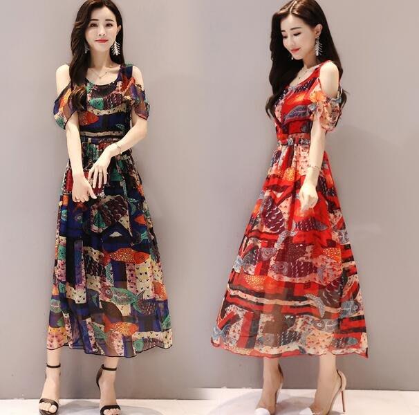 韓版洋裝 夏季顯瘦露肩短袖雪紡連身裙 複古長裙 波西米亞洋裝—莎芭