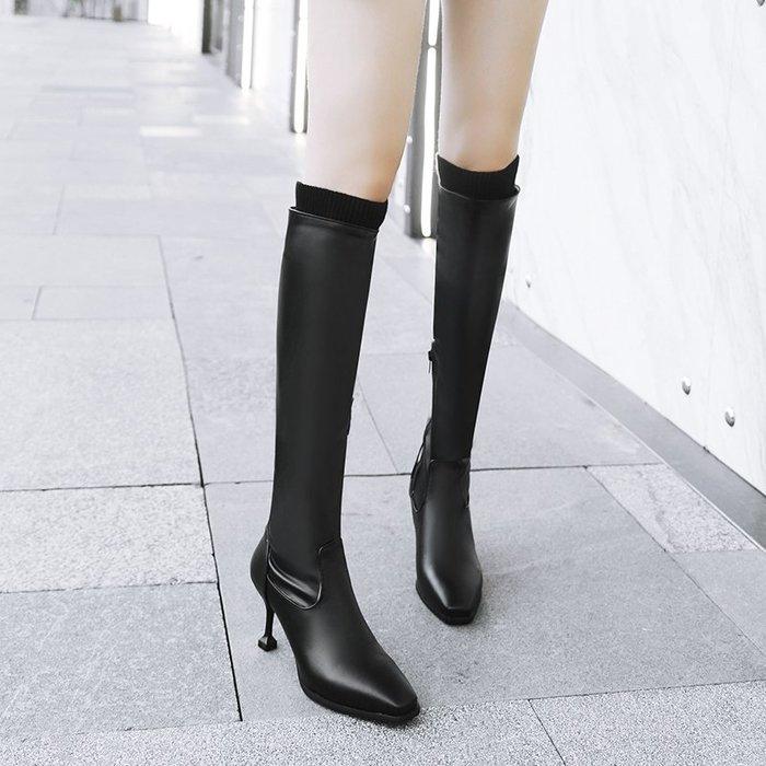 ~Linda~秋冬新款百搭方頭細跟長靴女高跟過膝靴顯瘦彈力長筒靴高筒靴