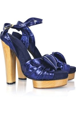 全新原價$29800 Marc Jacobs Fuxia 莓紅色小羊皮麂皮高跟厚底楔型鞋