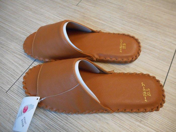 ~~凡爾賽生活精品~~全新手縫咖啡色皮革造型室內止滑拖鞋