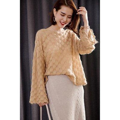 雪紡上衣  慵懶風馬海毛毛衣女薄款秋冬季新款喇叭袖寬鬆套頭羊毛針織衫  DF