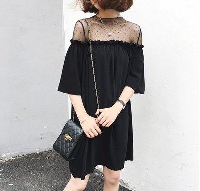 中大尺碼裙子 洋裝XL-4XL孕婦裙 韓版寬鬆A字裙 蕾絲露肩裙4F039.630 胖胖美依