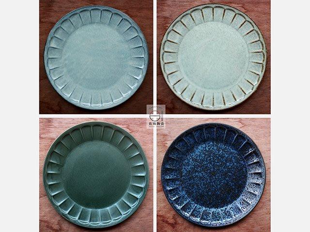 +佐和陶瓷餐具批發+【XL070724-1.2.3.11輪花刻紋9吋圓皿-日本製】(橄欖綠/淺鼠灰/淺米黃/熔岩黑)