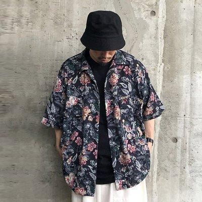 【傑森精品】日本潮牌 WHO'S WHO gallery 春夏 復古 印花 OVERSIZE 寬鬆 古巴領 短袖襯衫