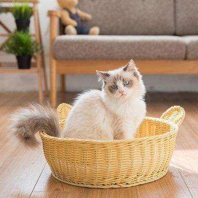 【興達生活】藤編貓窩夏季貓屋貓睡袋小貓窩貓咪用品狗窩寵物窩四季通用`9976