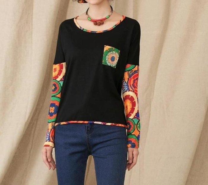 中大尺碼 民族風T恤假兩件式長袖塗鴉刺繡款袖印花長袖T恤 L黑 莫代爾彈性佳