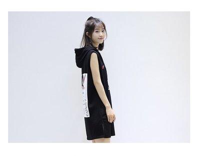 Color Fashion春秋季韓版寬鬆顯瘦連衣裙帶帽印花無袖T恤 G825131正韓女裝女衣T恤
