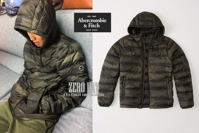 A&F真品Abercrombie&Fitch Lightweight Hooded Puffer Jacket羽絨外套綠