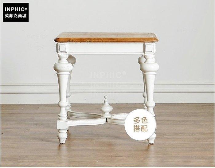 INPHIC-法式榆木實木拼花茶几 方形 邊桌_Y328