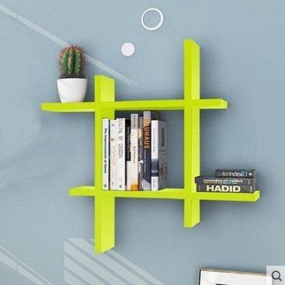 『格倫雅品』創意書架客廳擱架背景牆裝飾架子牆上置物架-綠色