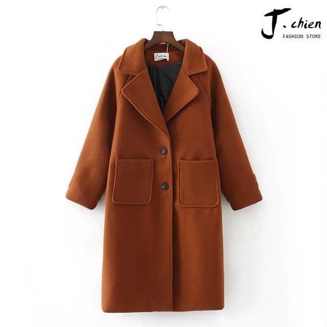 J.chien ~[全館免運]時尚韓版修身毛呢大衣 大衣 加厚保暖大衣 韓版 潮流大衣