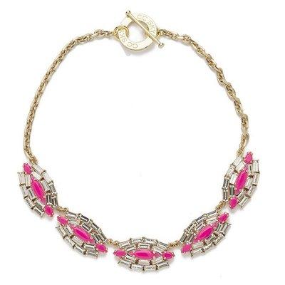 CC SKYE 台北ShopSmart直營店 桃紅色 方鑽水晶 金色項鍊 Queen Rebel Necklace 特價出清