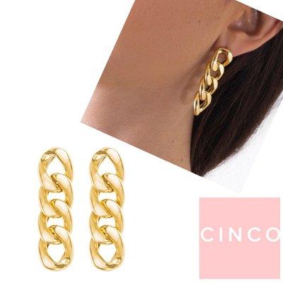 CINCO 葡萄牙精品 Ellery earrings 24K金耳環 復古橢圓鎖鍊耳環