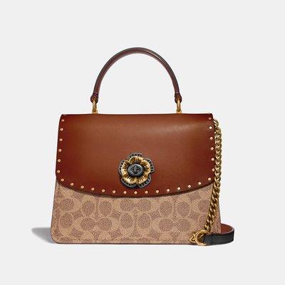 軒軒小店 COACH 53349 棕色 PARKER logo鉚釘 女士手提/斜背包