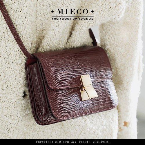【Mieco】真皮訂製 蜥蜴紋漆皮 classic box復古金釦掀蓋風琴小方包〔蜥蜴紋24cm〕