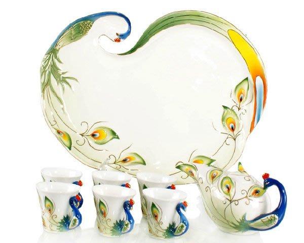 5Cgo【鴿樓】會員有優惠 15825369330 雀之群舞 孔雀杯 陶瓷功夫紅茶壺 茶盤6杯1壺1盤
