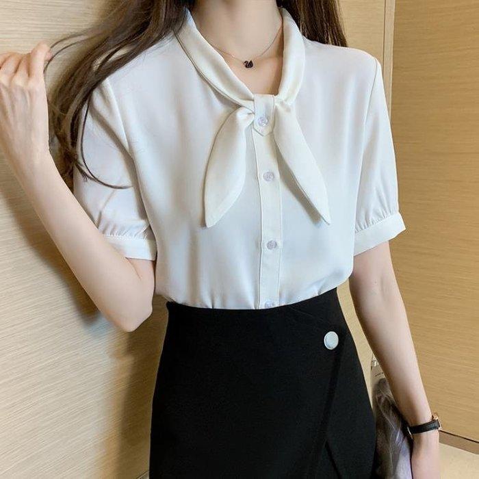 雪紡襯衫 女夏季2020年新款蝴蝶結氣質職業OL襯衣時尚洋氣短袖上衣 JX3432  柳風向