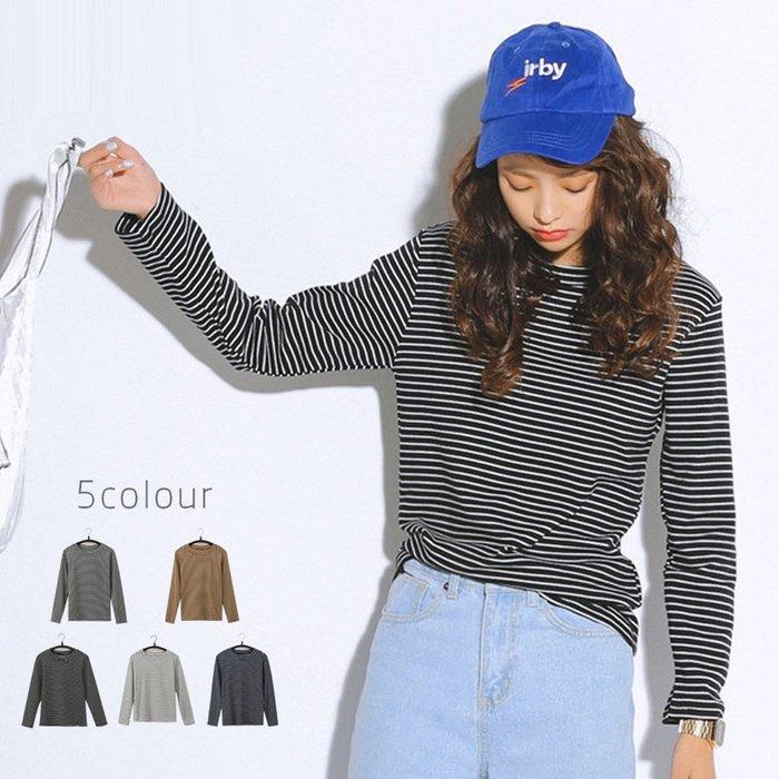 SeyeS  大阪風復古雜誌款自然風條紋長袖T恤