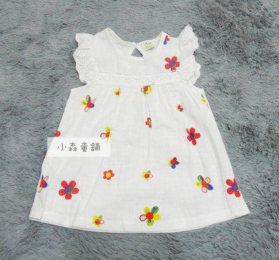小森童舖 2016春夏 韓系女童 復古風格 透氣 小花布蕾絲袖口 棉紗短袖上衣t恤 5號 零碼