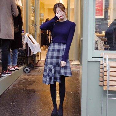 氣質可愛格紋荷葉擺長裙