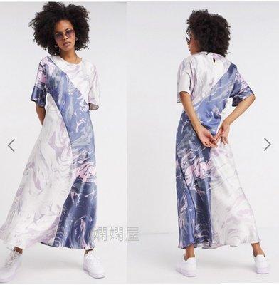 (嫻嫻屋) 英國ASOS-Weekday時尚優雅名媛大理石印花緞面圓領短袖中長裙洋裝SG20