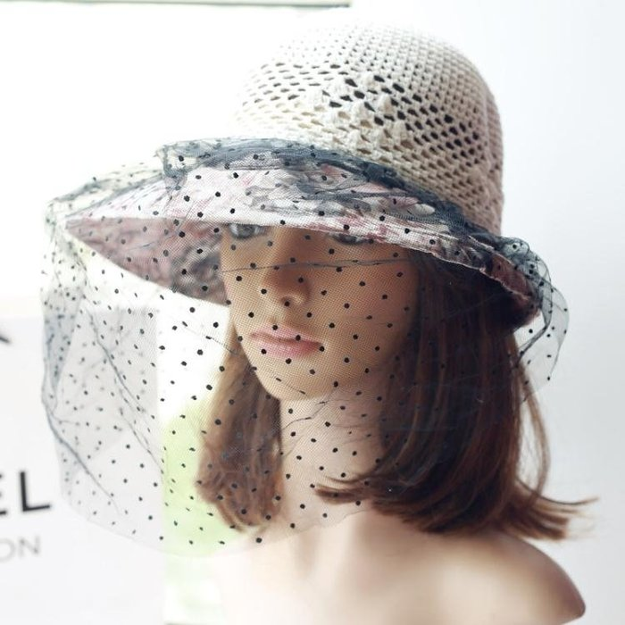 防蜂帽 防蟲蚊防沙塵夏天遮陽帽女士面紗防紫外線大沿帽騎車帽采蜂帽黑紗