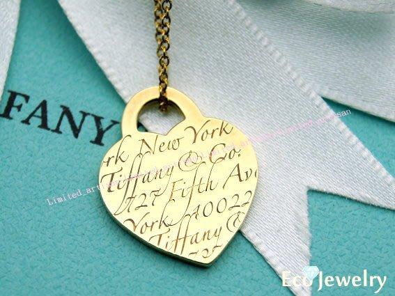 《Eco-jewelry》【Tiffany&Co】經典款18K金Notes系列愛心牌刻字項鍊~專櫃真品 近新品