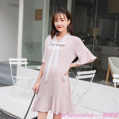 perseverance~~孕婦裝孕婦春裝連身裙時尚款懷孕期韓國百搭潮媽甜美可愛3-9個月外穿潮