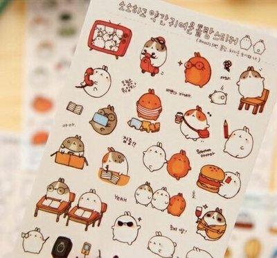 手機貼紙韓國 可愛胖兔透明日記相冊手帳...