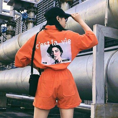 小傾心文藝館~春夏韓版INS潮人同款原宿風BF個性印花POLO領半袖T恤+短褲套裝女