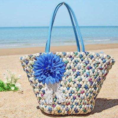 側背包新款手工編織包草包花朵草編包度假女包包藤編包沙灘大包包單肩包—莎芭