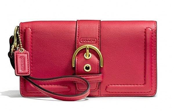 全新美國名牌 COACH 紅色皮革手拿包皮夾長夾!母親節情人節生日最佳贈禮,低價起標無底價!本商品免運費!