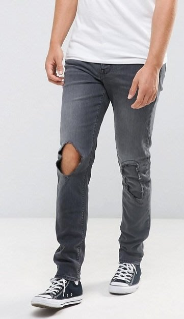 ◎美國代買◎ASOS膝刷破洞補洞搭配仿舊灰黑刷色復古英倫頹廢街風刷破洞顯廋牛仔褲 ~歐美街風~大尺碼