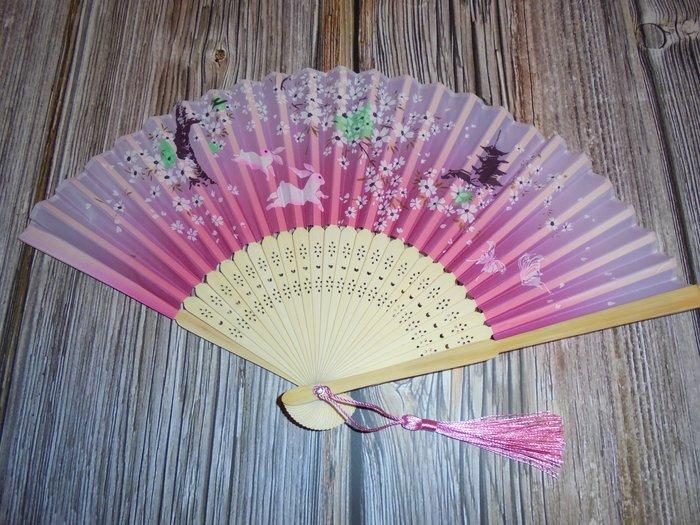 漂亮 竹製 (粉)日式風格 摺疊扇子 夏季手扇