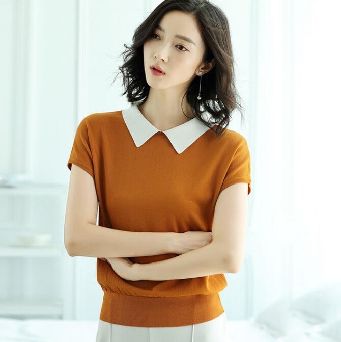 韓版 套頭t恤 短袖冰絲針織衫女毛衣翻領修身上衣 涼感衣 莎芭