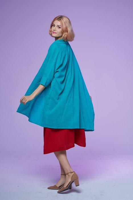 !中國藍Anewei土耳其藍綠超薄棉外罩衫/遮陽-F-冷氣房最好