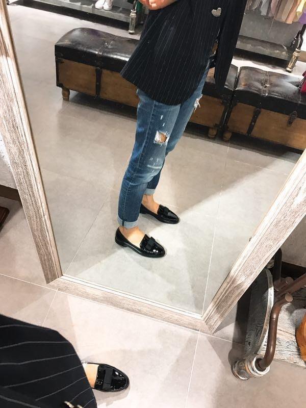 ╭☆包媽子店☆Kate Spade 黑色跟裸粉色漆皮蝴蝶結平底女鞋