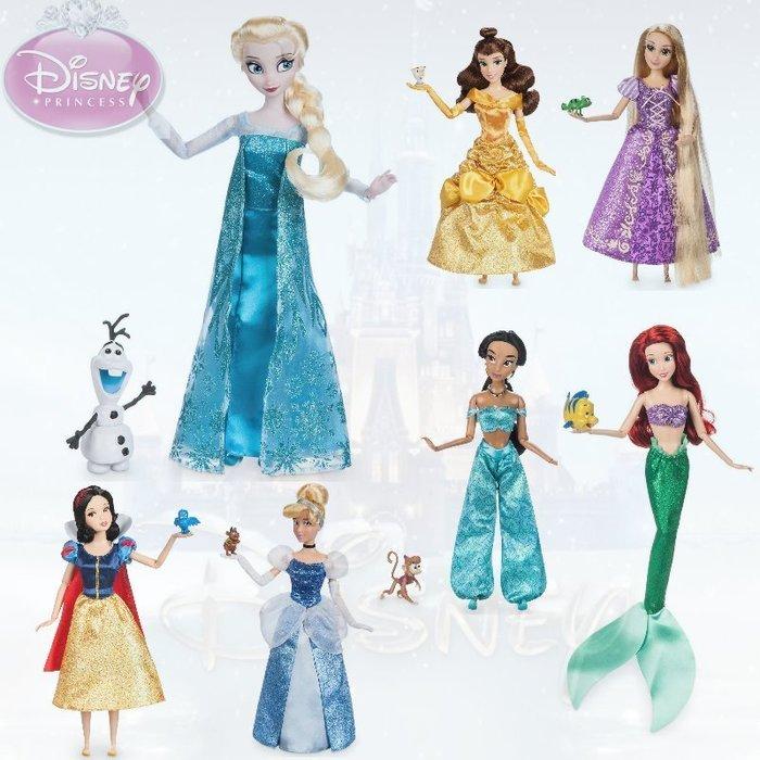 現貨【迪士尼 Disney】全新美國正品 經典款 芭比娃娃 長髮公主 愛瑞兒 艾莎 仙杜瑞拉 貝兒 茉莉【高約28公分】