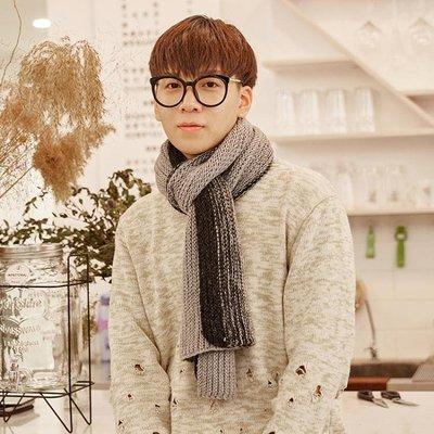圍巾男雙色百搭韓版羊毛毛線針織厚英倫潮流長款簡約學生保暖