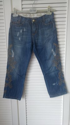 【Dolce & Gabbana】D & G 金線刺繡七分牛仔褲