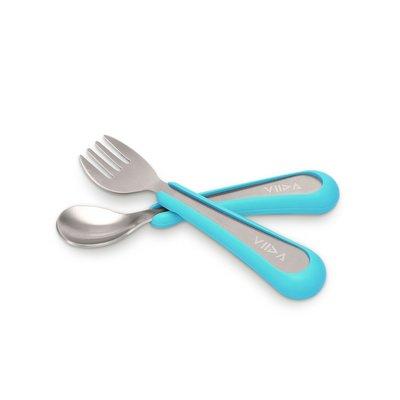 【現貨】QB選物 ❤ VIIDA ❤  抗菌不鏽鋼叉匙組-寶貝藍